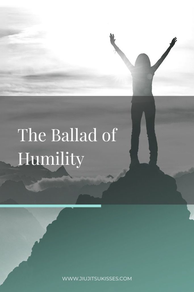 a pinterest image with a woman standing on a mountain that read The Ballad of Humility